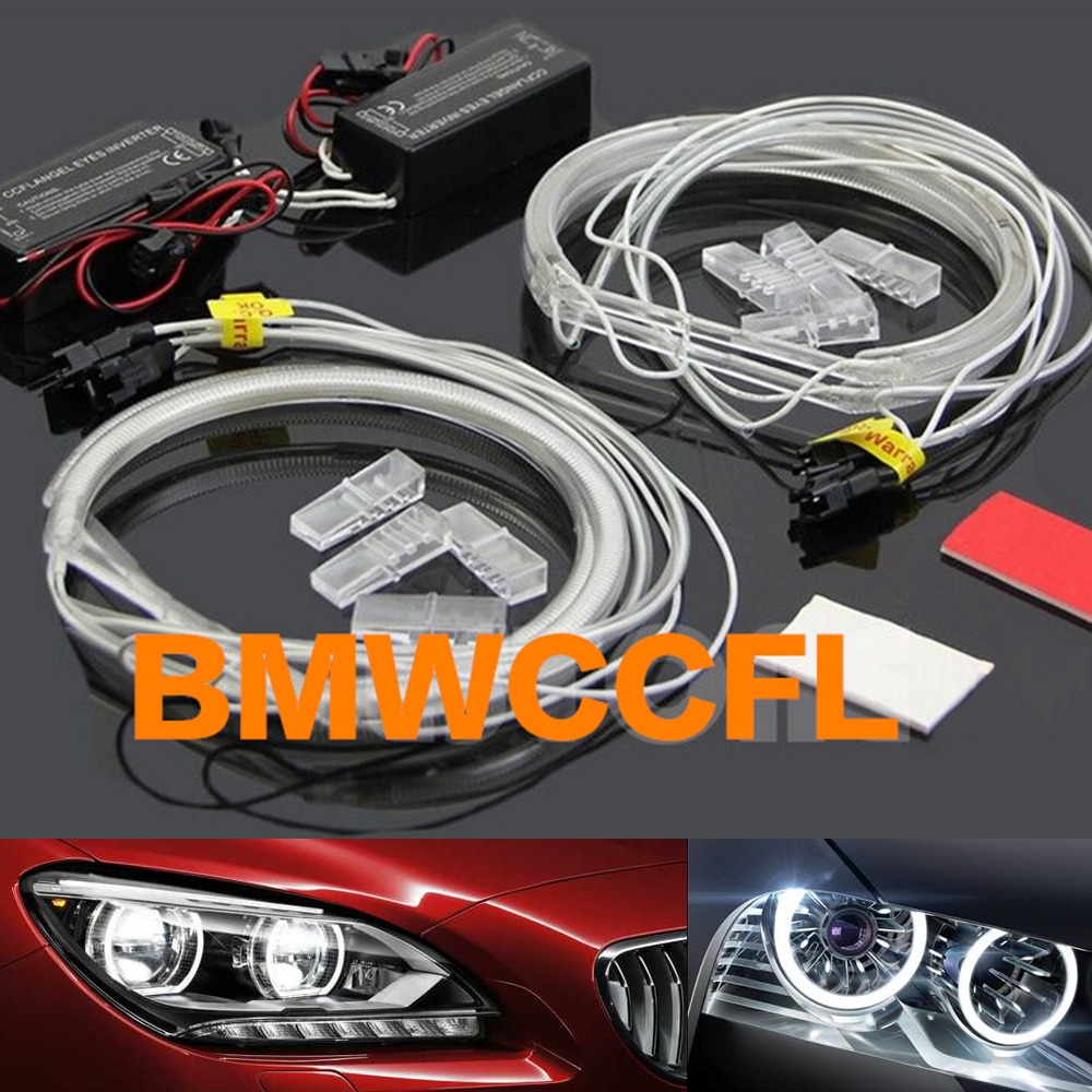 MALUOKASA 2x 131mm 2x 146mm White Yellow Red Blue Car CCFL Halo Rings Angel Eyes LED Headlights for BMW E46 Sedan Light Kits for uaz patriot ccfl angel eyes rings kit non projector halo rings car eyes free shipping