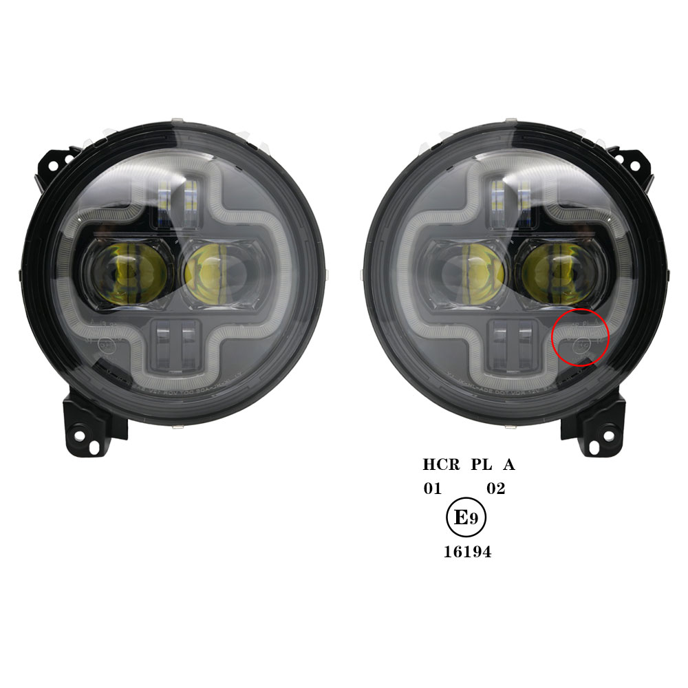 Car Lights 9inch Round LED Headlight White DRL Halo Ring Plug in Play for 2018 2019 Jeep Wrangler JL Car Headlight Assembly (20)