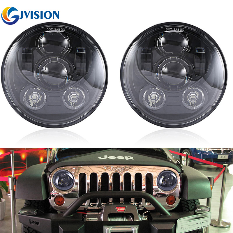 7 Inch Round headlight for Jeep Wrangler 7'' Car led lamps 45W High Low Dual beam H4 Headlamp for Hummer Offroad Harley Davidson for jeep wrangler jk round 7 high low beam 50w led driving headlight for hummer offroad 4x4 7 inch daymaker headlamp angel eye