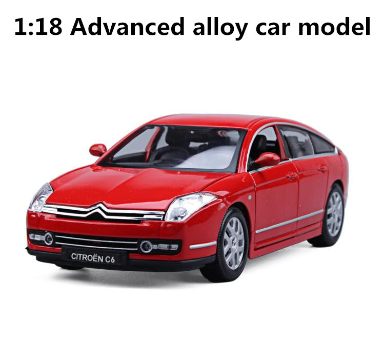 1:18 Advanced Alloy Car Models,high Simulation Citroen C6,metal Diecasts 4 Open The Doors,collection Toy Vehicles,free Shipping