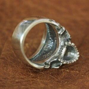 Image 3 - خاتم برقبة على شكل جمجمة من الفضة الإسترليني من LINSION موديل 925 للرجال خاتم روك بانك TA135 بمقاسات من 7 إلى 14