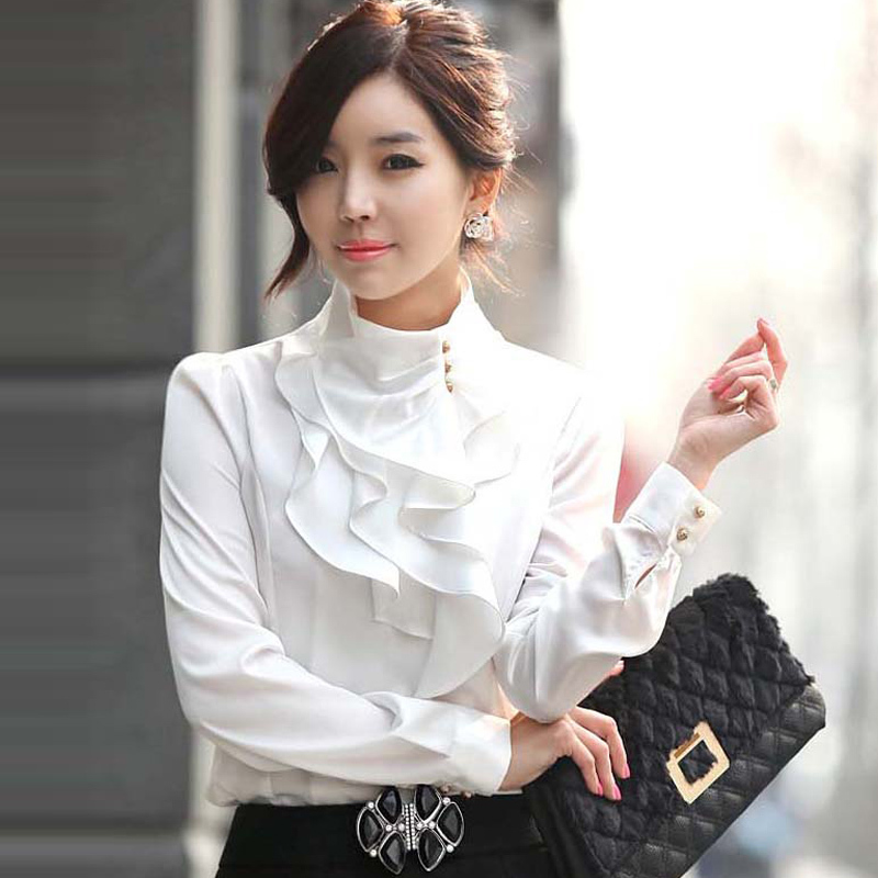 New Women Victorian Ruffle Collar Shirt Puff Sleeve Silky ...