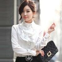 New Women Victorian Ruffle Collar Blouse Puff Sleeve Silky Luxurious High Neck Tops Shirt
