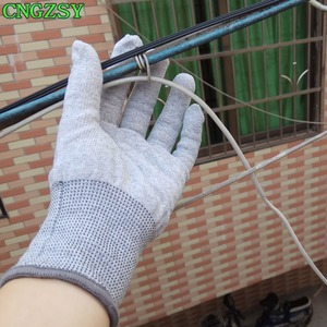 Image 3 - 5 pairs static free wearable tight working carbon fiber nylon gloves car wrap window tints auxiliary tools knitted gloves 5D08