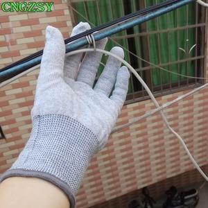 Image 3 - Gants de travail en nylon et fibre de carbone, 5 paires, sans électricité statique, portables, serrés, pour envelopper la voiture, teintes de fenêtre, outils auxiliaires, gants tricotés 5D08