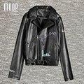 Черный с граффити декор PU кожаные куртки женщины мотоцикла офф-центр почтовый карман в юбке пальто весте ан cuir femme LT769