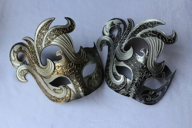 Handmade mask masquerade princess mask vintage 2 colored drawing male Women