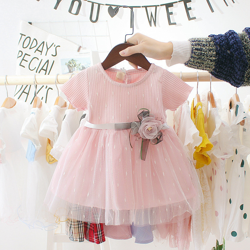 Summer Toddler Infant Girls Cotton Mesh Tutu Dresses Kids Cute Birthday Party Clothes 0-3Y Baby Girl Princess Dress