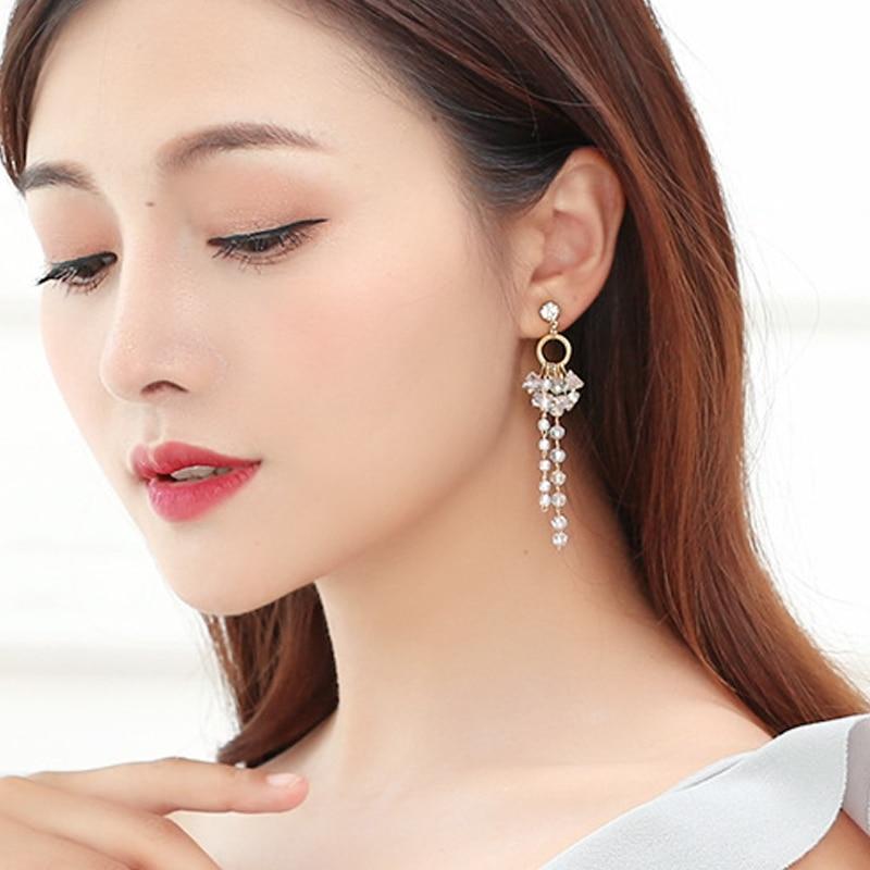 Luxury Shining Crystal Long Tassel Earrings boucle d'oreille Woman Lovely Geometric Pendant Drop Earrings Brincos Jewelry EH371