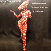 Для женщин женские пикантные этап Одежда для танцев красный Dj Gogo Комбинезон 3D печатных белый большой горошек боди вечерние партии празднов