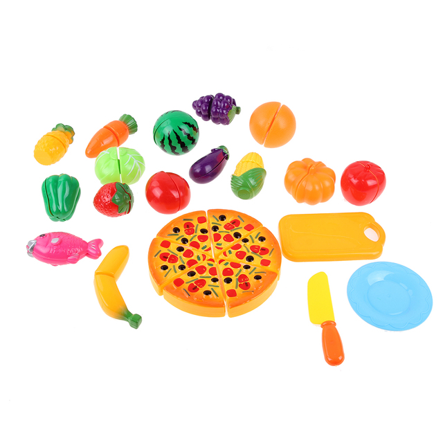 2931fa781 24pcs Simulation Foods Set Fruit Vegetable Pizza Kids Kitchen Pretend Play  Toys For Children Cooking Accessories