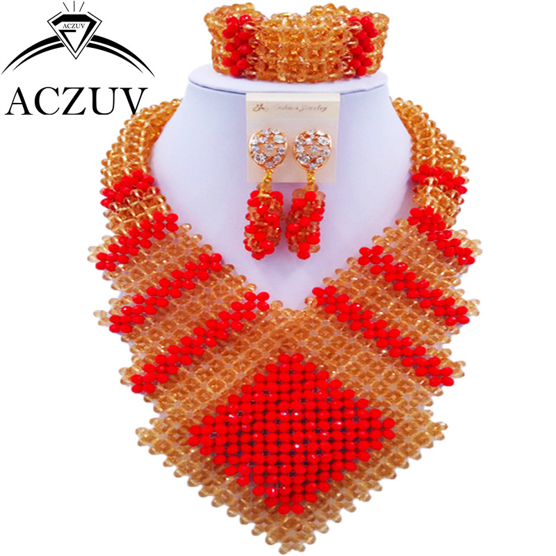 ACZUV Latest African Style Beads Red Gold Jewelry Set for Women Nigerian Wedding Necklace CFKK004 aczuv brand opaque red african jewelry set nigerian wedding beads art005