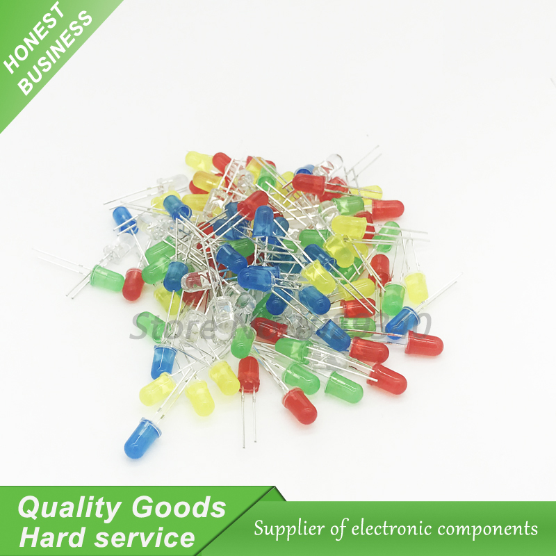 5colors*20pcs=100pcs 5mm Led Diode Light Assorted Kit Green Blue White Yellow Red Component Diy Kit New Original Active Components Electronic Components & Supplies