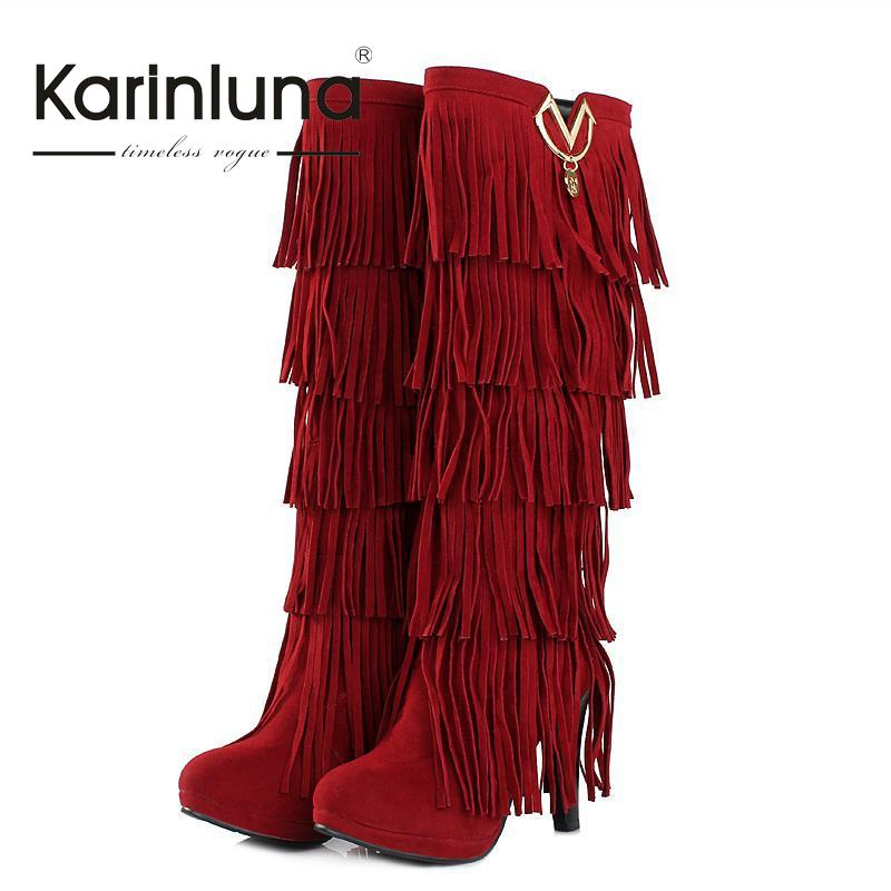 ФОТО Small Big size 32-43 New Winter Women boots High heels Knee boots Tassel Fashion platform add warm Fur woman shoes