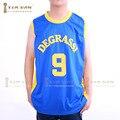 2016 Новый Деграсси Баскетбол Джерси Номер 9 Синий Цвет No Name Хорошее Качество Баскетбол Джерси Бесплатная Доставка