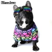 Fashion French Bulldog Summer T-shirt Vest Skull Print Pet Clothes Dogs Pets Clothing Dog Winter Warm Coat Pug Costume KKC01