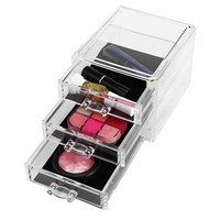 2017 Hot Product New Clear Acrylic Desktop Cosmetic Storage Organizer Box 3 Drawers Makeup Cases For Storage Make-up