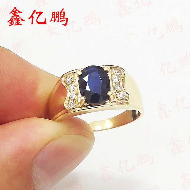 18 k gold inlaid natural sapphire ring ring 6 by 8 male contracted sedate Dark blue 4