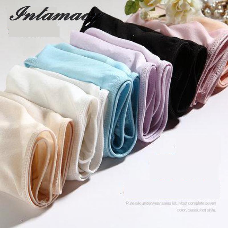 100% real silk non-trace briefs female breathable low-rise sexy non-trace underwear