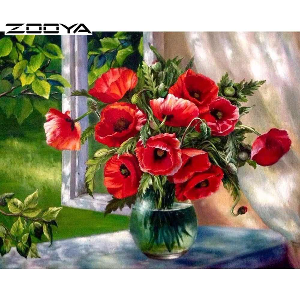 ZOOYA 5D DIY Diamond Embroidery Rhinestones Embroidery Diamond Cross Stitch Diamond Painting Flowers Poppy Flower Vase AT1426