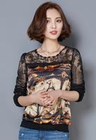 2017 Lace Women Fashion Plus Size Spring Autumn Horse Print Chiffon Tops Shirt Vintage Loose Blusa