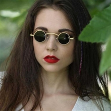 ZXTREE Fashion Brand Retro Gothic Steampunk Small Round Sunglasses Women Metal Men Coating Mirror Vintage UV400