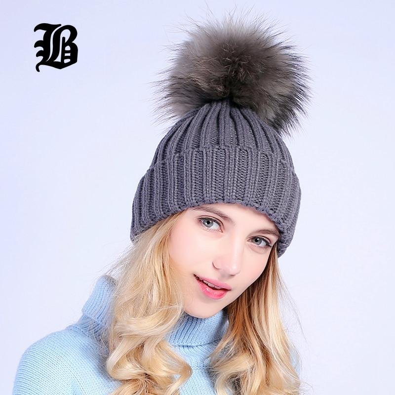 [FLB] Grå Mink Fur Ball Cap Pom Poms Vinter Hat Til Kvinder Piges - Beklædningstilbehør - Foto 3