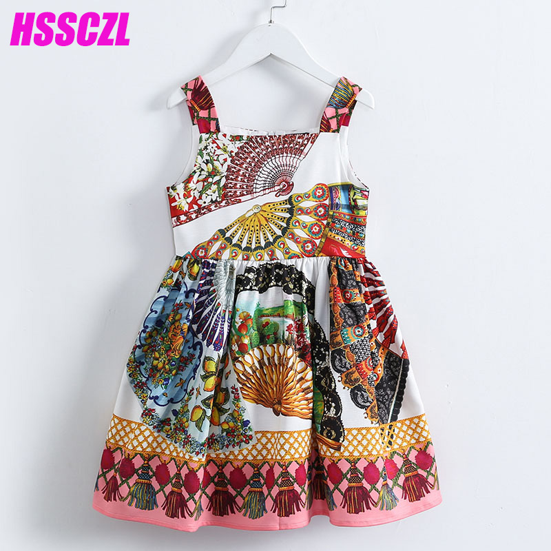HSSCZL 2017 Sling girl dress summer cotton children's clothing wholesale thin section high-end brand princess printing sleeveles стул coleman summer sling 205147
