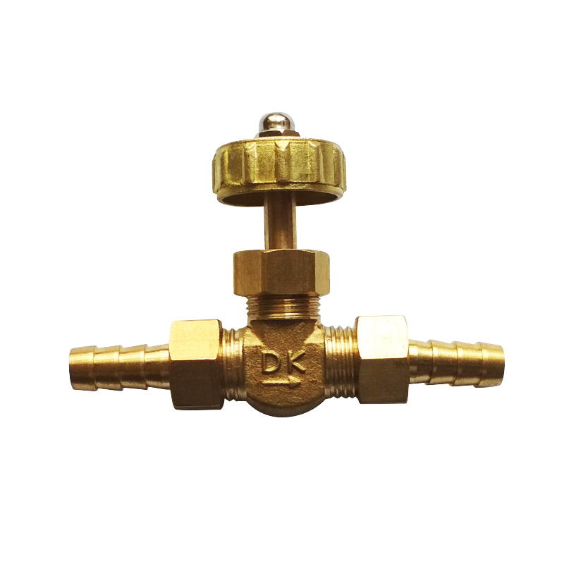 8,10 Mm OD Brass Hose Barb Needle Valve Max Pressure 0.8 Mpa For Water