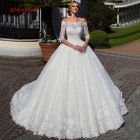 Long Sleeve Lace Wedding Dresses Ball Gown Off Shoulder Turkey Plus Size Bride Bridal Weding Weeding Dresses Wedding Gowns 2019