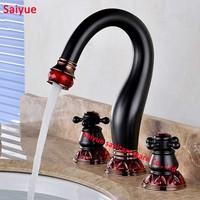New Charming red fresh crystal pomegranate ORB Antique black 3 pieces Set Bathroom Mixer Deck Mounted Sink Tap Basin Set Faucet