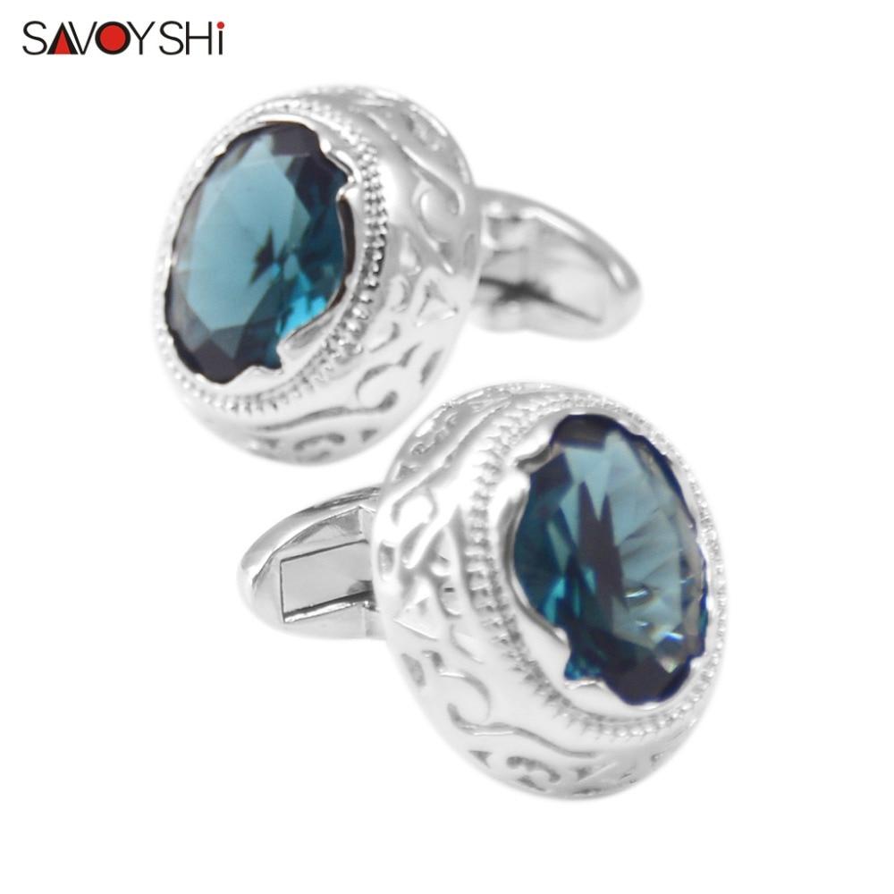 Gemelos de camisa de lujo SAVOYSHI para regalo de hombre Patrón hueco de plata de alta calidad Gemelos de circonita azul cielo Marca Hombres Joyería