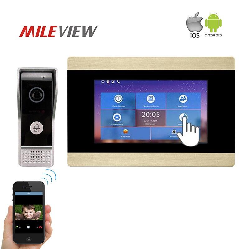 Livraison Gratuite 1.0MP 720 P AHD HD TCP/IP 7 Écran tactile Interphone Vidéo Porte cloche Enregistrement Téléphonique Kit pour WIFI APP Android IOS Téléphone