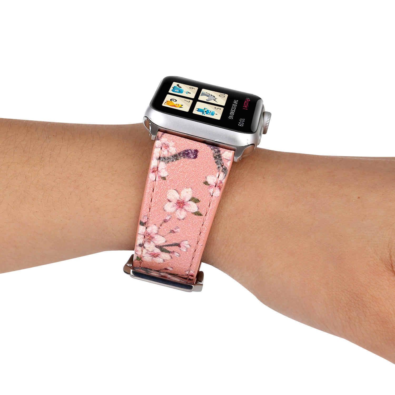 ดอกไม้พิมพ์หนังสำหรับ Apple Watch Series 1/2/3/4/5 Band 44 มม. 42 มม.40 มม.38 มม.พลัมสร้อยข้อมือออกแบบดอกไม้