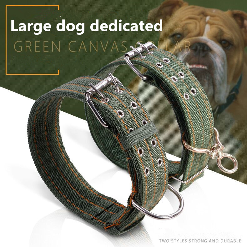 FM3 New Army Green Canvas Pet Dog Collar for Large Dogs Double Row Buckle Design Durable Pet Collars Necklace Adjustable