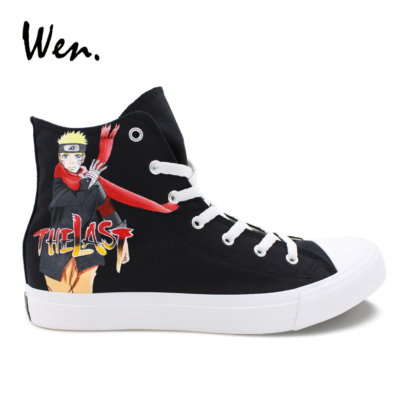 Wen Design Hand Painted Skateboard Shoes Naruto Movie The LAST Unisex Canvas Sneakers High Top Anime Graffiti Shoes for Boy wen unisex design hand painted shoes anime kiki s delivery service high top canvas sneakers girl boy skateboarding shoes