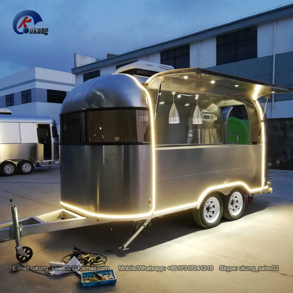 UKUNG new style customized airstream model food trailer, 450cm length full  stainless steel luxury food vending cart