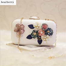 BEARBERRY 2017 high quality 3d handmade flower evening bags famous brand clutch wallets wedding dinner bags with chain 4 colors