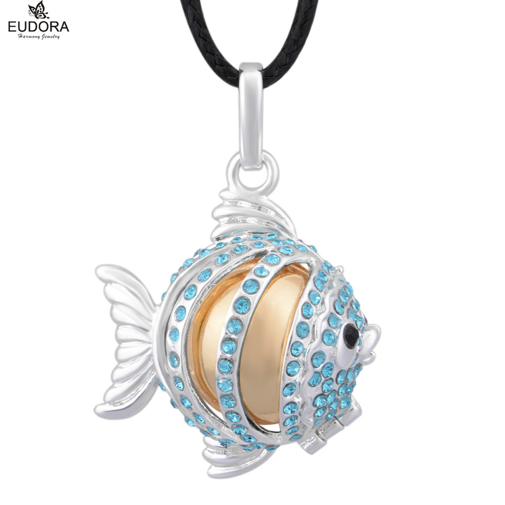 Angel Caller Musical Fish Blue Crystals Harmony Bola Ball Pendant Necklace Chime Ball Pendants Mum To Be Jewelry Pregnant Gift