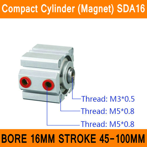 SDA16 Cylinder Magnet SDA Series Bore 16mm Stroke 45-100mm Compact Air Cylinders Dual Action Air Pneumatic Cylinder bore 16mm x 75mm stroke cj2 series mini cylinder pneumatic cylinder air cylinder with magnet