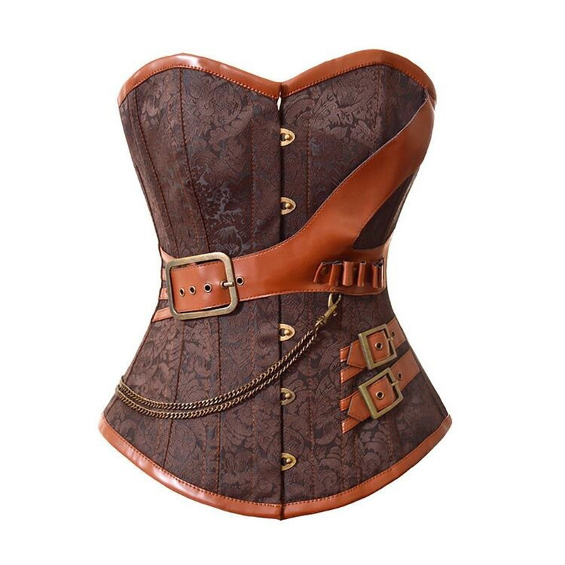Black Steampunk   Corsets   And   Bustiers   Leather   Corsets   Sexy Women Gothic Underbust Corselet Steel Boned   Corsets   6XL Lingerie