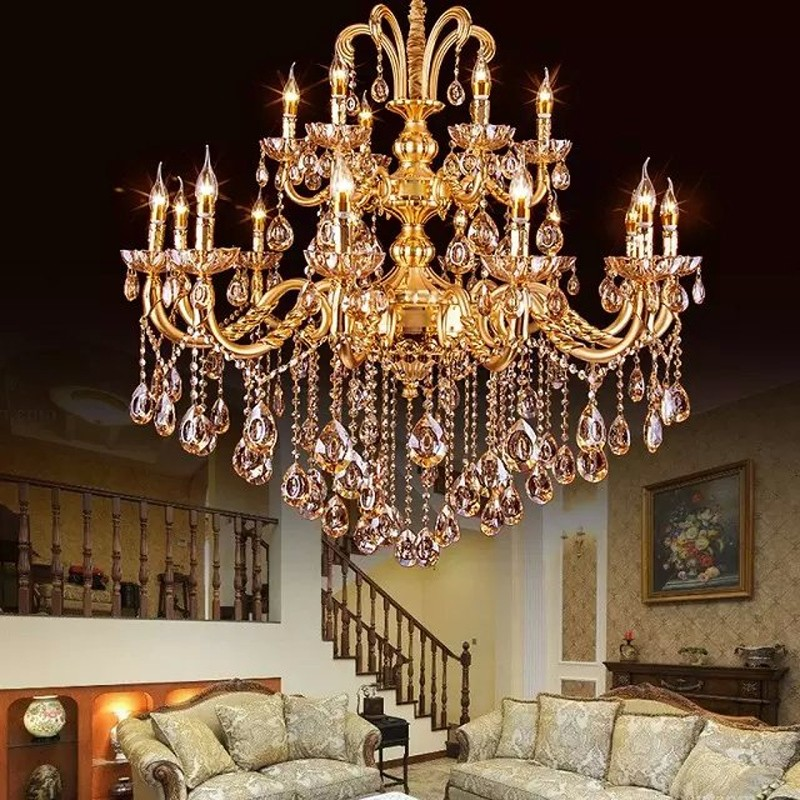 Aliexpress Com Buy Classic Large Crystal Chandelier Light Fixture Gold Crystal Chandelier