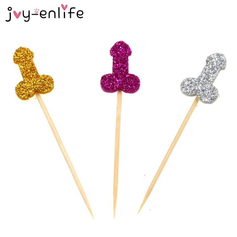 Joy Enlife 12Pcs Glitter Willy Penis Cake Cupcake Topper-2905