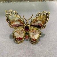 Большие Бабочки Кольцо натурального агата и турмалином Бабочка Кольцо Изысканные Женщины Ювелирные изделия как на изображении только 1 шт