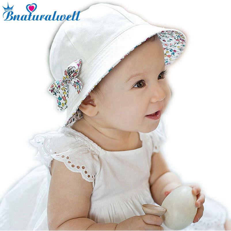 Peuter Hoed Baby Baby Meisjes Bloemen Strik Emmer Hoed Dubbelzijdig Katoen Strand Cap Zomer Outdoor Zonnescherm Emmer Hoeden BS097