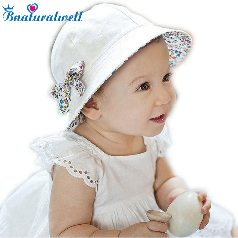 Toddler Hat Infant font b Baby b font Girls Floral Bowknot Bucket Hat Two Sided Cotton