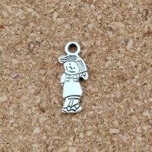 Cute little Girl charm Pendants 50Pcs/lot Antique silver Fashion Jewelry DIY Fit Bracelets Necklace 6.5x18mm A-514