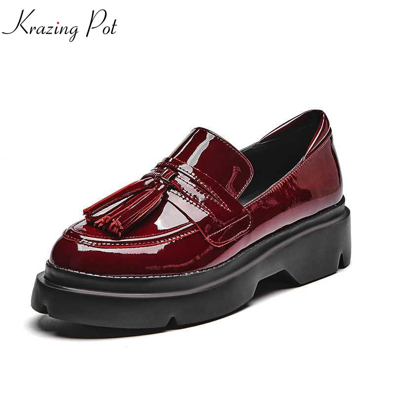 Krazing Pot 2018 cow leather round toe lace up tassel British style women pumps vintage thick bottom wedges increased shoes L02 xiaying smile woman pumps shoes women spring autumn wedges heels british style classics round toe lace up thick sole women shoes