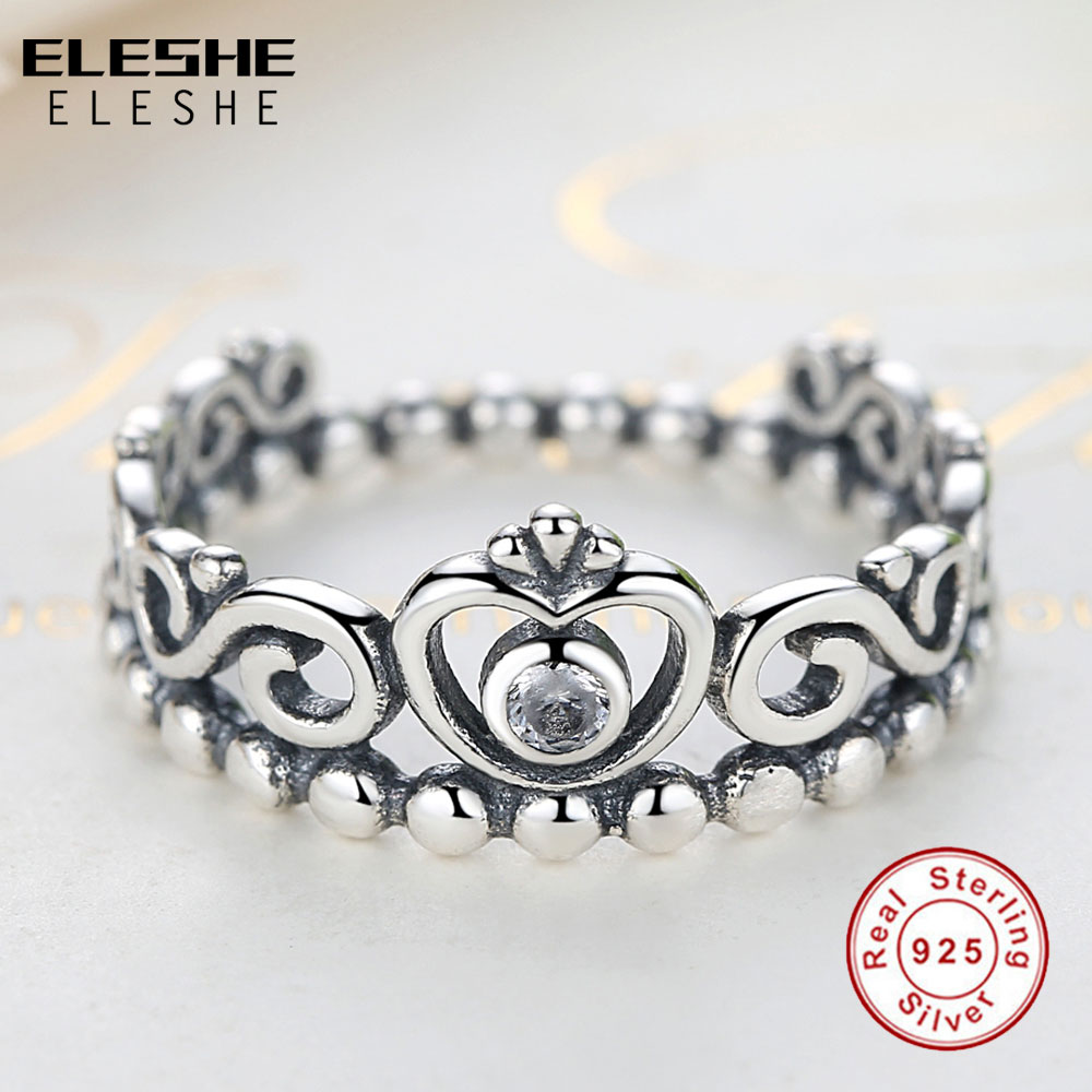 ELESHE 925 Sterling Silver My Princess Queen Crown Engagement Rings for Women with Clear CZ Authentic Sterling-Silver-Jewelry