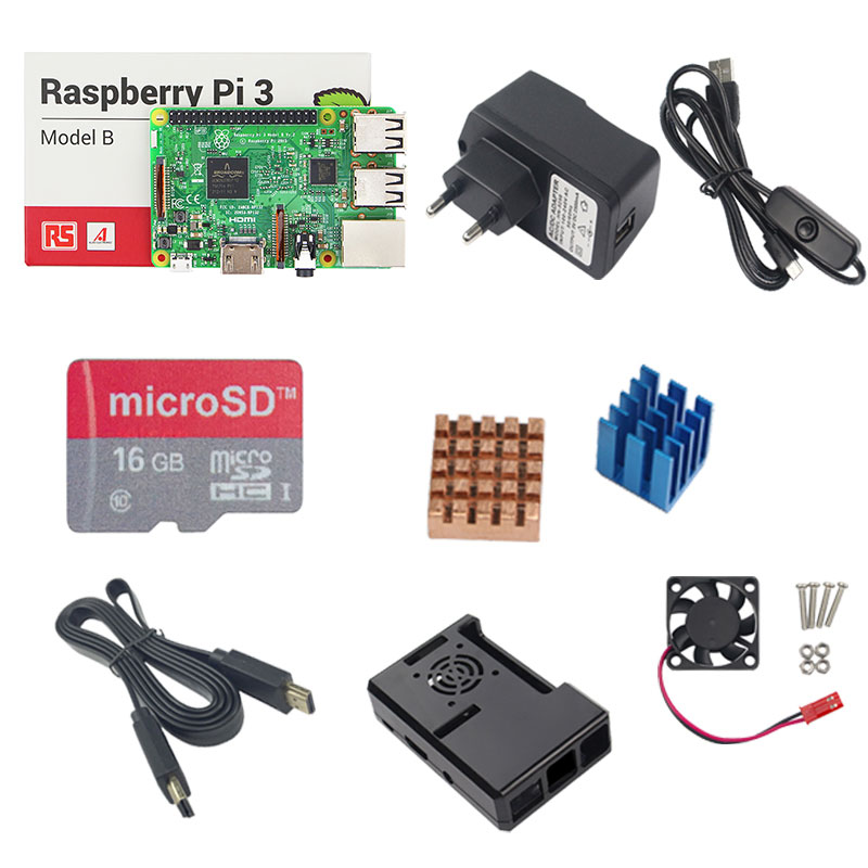 Raspberry Pi 3 Starter kit Raspberry Pi 3 Model B+16G SD Card+5V 2.5A Power Adapter+ABS Case+Heat Sink+HDMI Cable for RPI 3B+ hot raspberry pi 3 model b abs box case cooling fan hdmi cable 16g sd card 3pcs heat sink 5v2 5a power adapter gpio board
